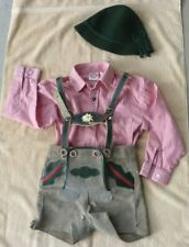 Child's German Lederhosen Suede Leather Gray, Hat, Red & White shirt size 4 & 6