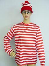 3-PCS Red/White Stripe Wheres Wendy Waldo Wally Beanie Glasses & T-shirt Costume