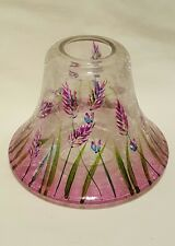 Large Yankee Candle Lavender Fields Crackle Floral Glass Shade Retired. RARE!