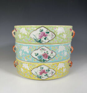 Antique Chinese Famille Rose Porcelain Stacking Trays