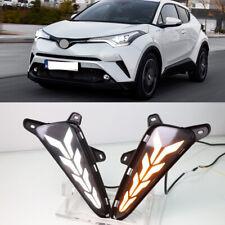 2x LED Daytime Running Light  Fog Lamp w/Turn Signal For Toyota CHR CH-R 2017-19