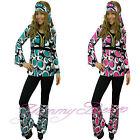Hippy Fancy Dress Costume Women 60s Hippie Flower Power Groovy Plus Size 6-20