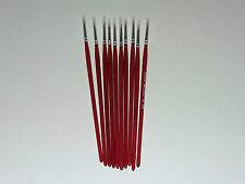 Modellng Fino Cepillo De Pintura Pinceles Tamaño 000 Puro Sable Modelo Pack De 10