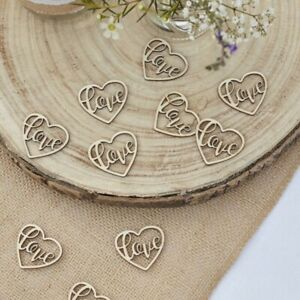 120 Piece - Ginger Ray Wooden Love Heart Table Confetti - Wedding Decorations