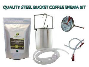 COFFEE ENEMA STARTER KIT  - QUALITY STEEL ENEMA BUCKET - AUSTRALIA GERSON GRINDS