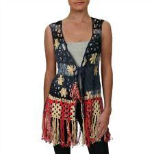 Free People Womens Blue Cotton Crochet Long Sweater Vest Top M/L