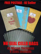 NO Seal Cello Cellophane OPP Plastic Bags Various Sizes