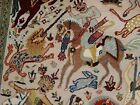 7 Horses King Hunting Classic Hand Double Knotted Fine Rug Carpet (6 x 4)'
