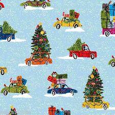 Makower Christmas Fabric Cars Snow Trees 100% Cotton Fat Quarter FQ 45 x 56cm
