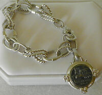 "Judith Ripka  Sterling Silver Link Chain Bracelet with Coin Charm  6 3/4"" SMALL"