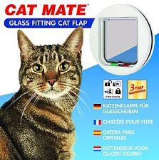 Cat Mate Glass Fitting 4 Way Locking Cat Flap White 210W