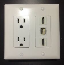 2 Gang HDTV Wall Plate Power Outlet 2x HDMI 1.4 A/V and 1 USB F-F White Decora