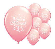 "50 X Just Married 11"" Helium Quality Pearlised Wedding Balloons in 13 Colours Light Pink"
