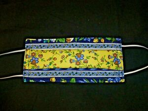 Fabric Material Washable Face Mask Three Layers - Flowers Blue + Yellow. 4 Size