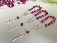 50 Pc Mini Rosary METALLIC LILAC COLOR Baptism Favors/recuerdos De Bautizo