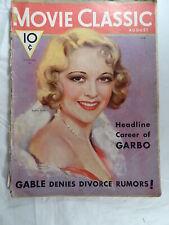 Movie Classics Magazine August 1932 GARBO Gable Sally Eilers Joan Crawford Rare
