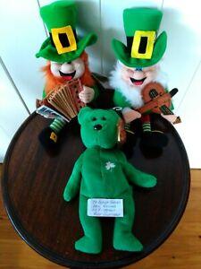 Lucky Finnegan musical Leprechauns x 2 + Ty Beanie Babies Erin - retired BNWT