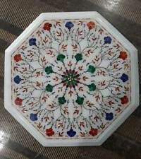 "18"" white marble table top dining coffee room decor inlay malachite b20"