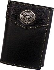 Nocona Western Mens Wallet Leather Rodeo Tooled Blue Cross Cutout Brown N5415202