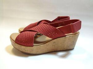 Clarks Wedge Heel Sandals. Nubuck Leather 'Stasha Bridget' 8 NWT Soft Cushion