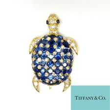 NYJEWEL Tiffany & Co Gold 7ct Sapphire & Diamond Turtle Brooch Pendant Potential