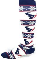 Houston Texans Christmas Winter Snowflake Striped Thin Dress Crew Socks