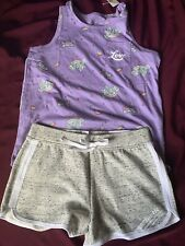 NWT Lot Of 2  Justice girls size 14/16 Purple Love tee/top and dolphin shorts🎀