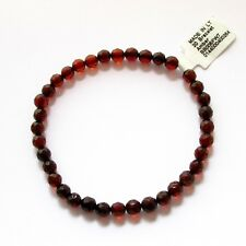 Genuine Baltic amber bracelet, faceted 5 mm beads, elastic (stretchable)