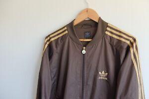 Vintage Adidas bomber jacket S Brown Trefoil 2006 chocolate espresso
