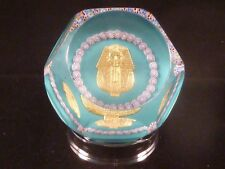 St. Saint Louis France Faceted Paperweight King Tut #159 COA EC