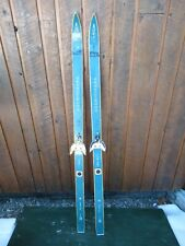 """Wooden 54"""" Long Skis Has Old GREEN Color Finish  Great for Decoration"""