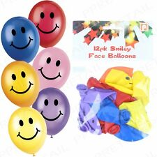 120x LARGE SMILEY PARTY BALLOONS VARIOUS COLOURS Happy Face Emoji Emoticon BULK