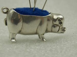 HALMARKED STERLING SILVER PIG PIN CUSHION