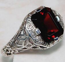 2CT Fire Garnet 925 Solid Genuine Sterling Silver Art Nouveau Ring Jewelry Sz 7
