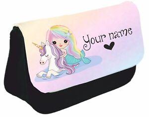 Personalised mermaid unicorn Pencil Case bag Back to school Birthday name girl