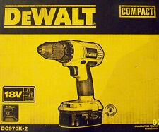 "DeWalt DC970K-2 18V NiCd 1/2"" Cordless Drill/Driver w/2 Batteries/Charger/Case"