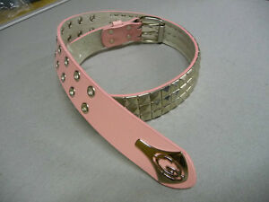 NEW GRATIS 3 STUDDED QUALITY LEATHER BELT PINK S/M AND M/L