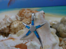 SLEEK HIGH POLISHED SMALL STERLING SILVER BLUE OPAL INLAY STARFISH SLIDE PENDANT