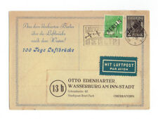 NOV.1948 BERLIN AIRLIFT CANCEL POSTCARD WITH TWO OVERPRINT ISSUE STAMPS