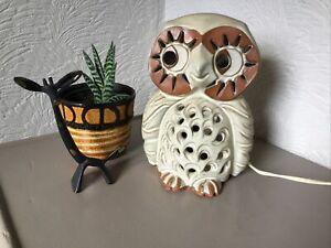 STUNNING 1970s SHELF STUDIO POTTERY OWL LAMP-TABLE-BEDSIDE-NIGHT LIGHT #6333