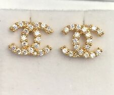 18k Solid Yellow Gold Cute Italian Stud Earrings With ZC, 2.65Grams