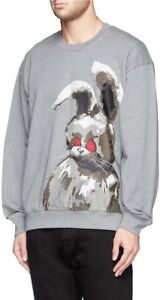 % 100 Authentic MEN ANGRY BUNNY PRINT COTTON SWEATSHIRT ( oversize)