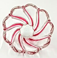 """Vintage Mikasa Peppermint Crystal ~6"""" Bowl Red Swirl Candle Votive Trinket Candy"""