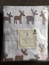Pottery Barn Kids Reindeer Twin Sheet Set Organic Cotton w/pink accents 2017 NEW