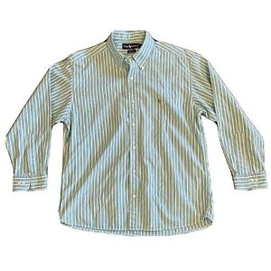 Men's Polo Ralph Lauren Yarmouth L/S Shirt Size 16 1/2 33  Teal & White Striped