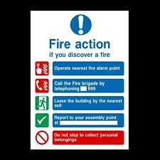 Fire Action Do Not Collect Belongings Plastic Sign OR Sticker - All Sizes (FA14)