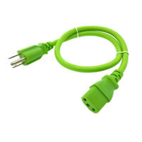 Green 2FT Universal 3Prong AC Power Cord Cable 18AWG Computer Printer Monitor TV