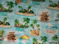 Margaritaville Key West Florida Light Blue Jimmy Buffet Cotton Fabric FQ