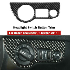 For 2015+ Dodge Charger/Challenger Real Carbon Fiber Headlight Switch Trim Cover
