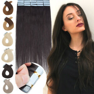 7A Invisible Tape in Real Human Hair Extensions Skin Weft FULL HEAD Hairpiece US